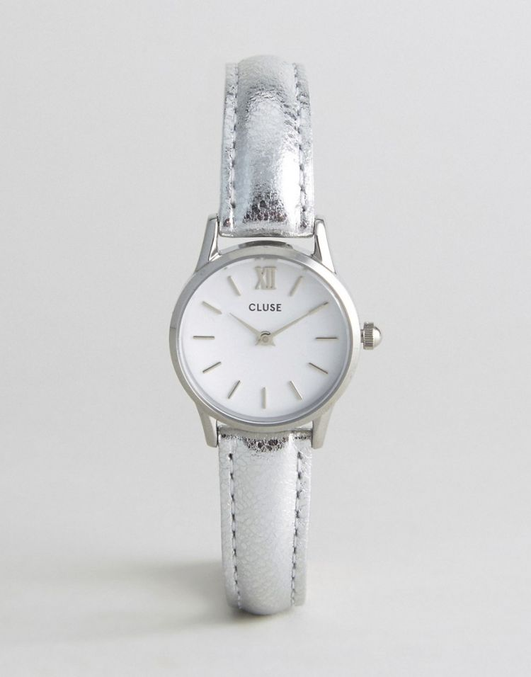 Image Cluse Silver Metallic Vedette Leather Watch