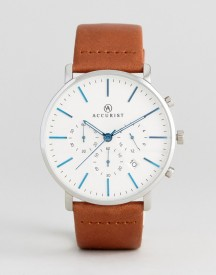 Accurist Chronograph Leather Watch In Tan afbeelding