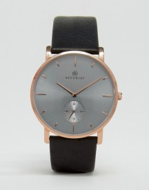 Accurist Leather Watch In Black afbeelding