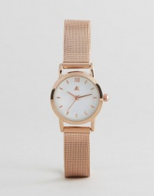 Asos Curve Mini Rose Gold Mesh Watch afbeelding