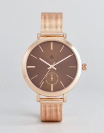 Asos Rose Gold Mesh Watch With Chocolate Dial afbeelding