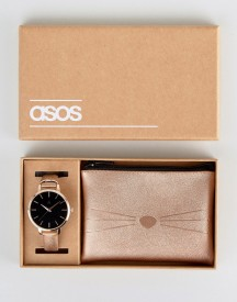 Asos Watch Gift Set With Cat Purse afbeelding