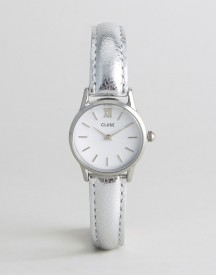 Cluse Silver Metallic Vedette Leather Watch afbeelding