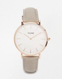 Cluse La Boheme Rose Gold & Grey Leather Watch Cl18015 afbeelding