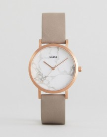 Cluse La Roche Marble White & Grey Leather Watch afbeelding
