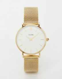 Cluse Minuit Gold Mesh Watch Cl30010 afbeelding