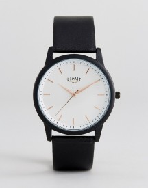 Limit Black Faux Leather Watch With Wave Dial Exclusive To Asos afbeelding