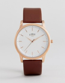 Limit Brown Faux Leather Watch With Wave Dial Exclusive To Asos afbeelding