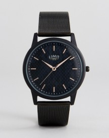Limit Carbon Fibre Dial Mesh Watch In Black Exclusive To Asos afbeelding