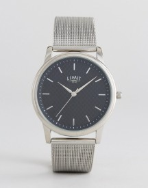 Limit Carbon Fibre Dial Mesh Watch In Silver Exclusive To Asos afbeelding