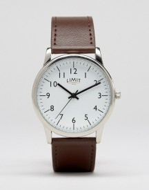 Limit Leather Watch In Brown Exclusive To Asos afbeelding