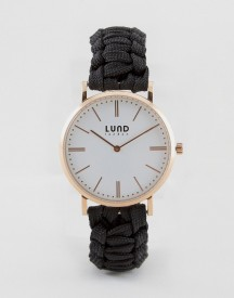 Lund London Black Braided Watch With Rose Gold Dial afbeelding