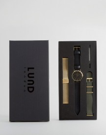 Lund London Black Leather Nato & Gold Mesh Watch With 3 Interchangable Straps afbeelding