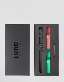 Lund London Faux Leather Watch With 3 Interchangable Straps afbeelding