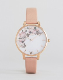 Olivia Burton 1052138 Enchanted Garden Leather Watch In Pink & Rose Gold afbeelding