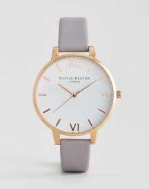 Olivia Burton Grey Lilac Large White Dial Leather Watch afbeelding