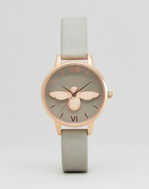 Olivia Burton Ob15am Molded Bee Watch In Grey Leather afbeelding