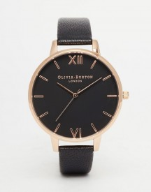 Olivia Burton Ob15bd66 Big Dial Leather Watch In Black & Rose Gold afbeelding