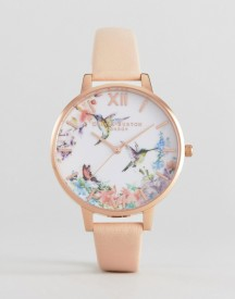 Olivia Burton Ob15pp12 Painterly Prints Leather Watch In Nude & Rose Gold afbeelding