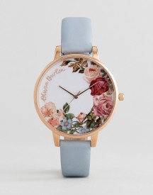 Olivia Burton Ob16er06 English Garden Leather Watch In Blue & Rose Gold afbeelding