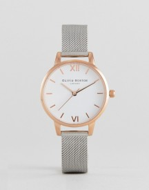 Olivia Burton Ob16mdw02 White Dial Mesh Watch In Silver & Rose Gold afbeelding