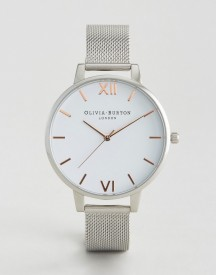 Olivia Burton Silver Large White Dial Mesh Watch afbeelding