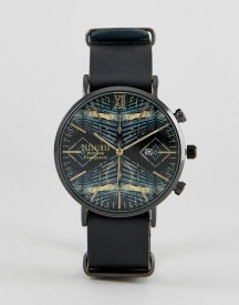 Reclaimed Vintage Inspired Aztec Leather Watch In Black Exclusive To Asos afbeelding