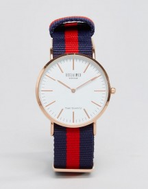 Reclaimed Vintage Inspired Canvas Stripe Watch In Navy/red Exclusive To Asos afbeelding