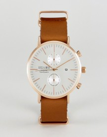 Reclaimed Vintage Inspired Chronograph Leather Watch In Brown Exclusive To Asos afbeelding