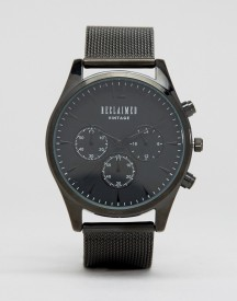 Reclaimed Vintage Inspired Chronograph Mesh Strap Watch In Black Exclusive To Asos afbeelding