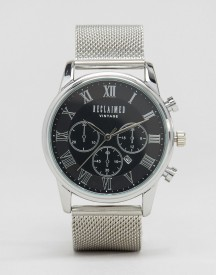 Reclaimed Vintage Inspired Chronograph Mesh Strap Watch In Silver Exclusive To Asos afbeelding