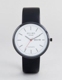 Reclaimed Vintage Inspired Date Leather Watch In Black Exclusive To Asos afbeelding