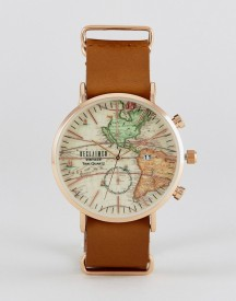Reclaimed Vintage Inspired Map Leather Watch In Brown Exclusive To Asos afbeelding