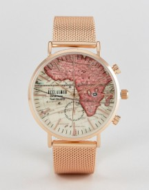 Reclaimed Vintage Inspired Map Mesh Watch In Rose Gold Exclusive To Asos afbeelding