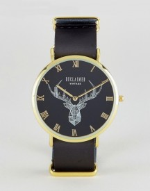 Reclaimed Vintage Inspired Stag Leather Watch In Black Exclusive To Asos afbeelding