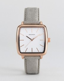 Sekonda 2451 Square Faux-leather Watch In Grey afbeelding
