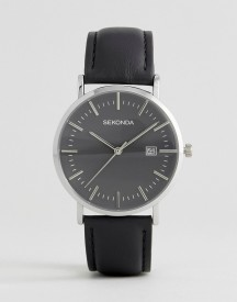 Sekonda Black Leather Watch Exclusive To Asos afbeelding