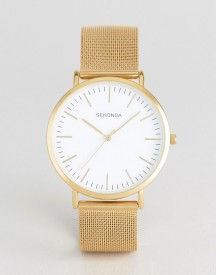 Sekonda Gold Mesh Watch With White Dial Exclusive To Asos afbeelding