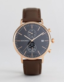 Sekonda Leather Chronograph Watch In Brown/rose Gold afbeelding