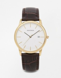 Sekonda Leather Strap Watch With Gold Plated Dial Exclusive To Asos afbeelding