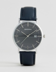 Sekonda Navy Leather Watch Exclusive To Asos afbeelding