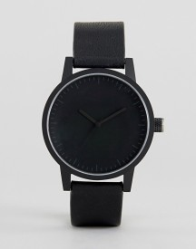 Swco Kent Leather Watch In Black 38mm afbeelding