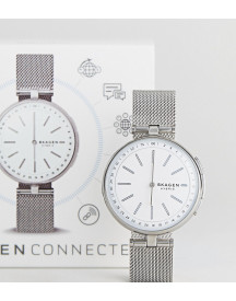 Skagen Connected Skt1400 Signatur Mesh Hybrid Smart Watch In Silver afbeelding