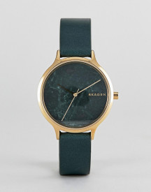 Skagen Skw2720 Anita Leather Watch In Green afbeelding