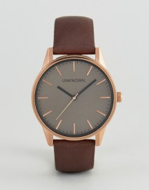 Unknown Classic Brown Leather Watch With Rose Gold Dial afbeelding