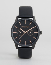 Unknown Engineered Leather Watch In Black afbeelding