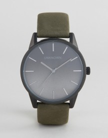Unknown Urban Ombre Leather Watch In Khaki afbeelding