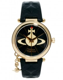 Vivienne Westwood Leather Strap Watch With Orb Charm Vv006bkgd afbeelding