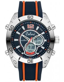 Colori Holland Sports 5-cld113 - Horloge - Siliconen Band - Blauw/oranje- 49 Mm afbeelding