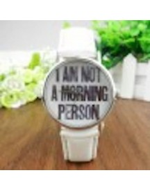 Leuke Horloge - I Am  Not A Morning Person  - Wit afbeelding